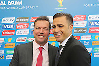 COSTA DO SAUIPE, BA, 06.12.2013 - COPA 2014 - SORTEIO FINAL DA COPA DO MUNDO 2014 - Lothar Matthäus (E) e Fabio Cannavaro (d) durante o sorteio Final da Copa do Mundo de 2014 na Costa do Sauipe litoral norte da Bahia, nesta sexta-feira, 06. (Foto: Vanessa Carvalho / Brazil Photo Press).
