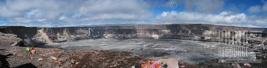 Panoramic view of the Big Island's Halema'uma'u Crater, with offerings or ho'okupu for Madame Pele.