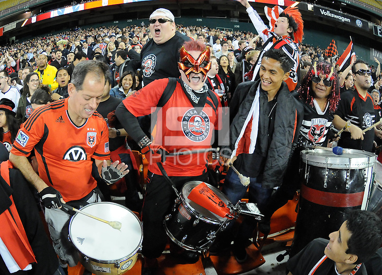 D.C. United midfielder Andy Najar with the Barra Brava fans.  D.C. United tied The Seattle Sounders 0-0 at RFK Stadium, Saturday April 7 , 2012.