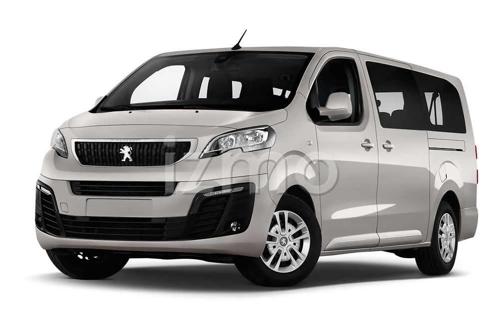 Stock pictures of low aggressive front three quarter view of a 2018 Peugeot Traveller Business 4 Door Mini Van