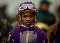 LEXINGTON, KY - OCTOBER 08: Ricardo Santana walks back to the jockey's room after the Dixiana Bourbon Stakes at Keeneland Race Course on October 08, 2017 in Lexington, Kentucky. (Photo by Alex Evers/Eclipse Sportswire/Getty Images)