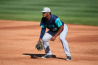 Lynchburg Hillcats first baseman Emmanuel Tapia (28) during the first game of a doubleheader against the Frederick Keys on June 12, 2018 at Nymeo Field at Harry Grove Stadium in Frederick, Maryland.  Frederick defeated Lynchburg 2-1.  (Mike Janes/Four Seam Images)
