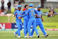 India's Kamlesh Nagarkoti celebrates the wicket of Australian captain Jason Sangha with his team mates during the ICC U-19 Cricket World Cup 2018 Finals between India v Australia, Bay Oval, Tauranga, Saturday 03rd February 2018. Copyright Photo: Raghavan Venugopal / © www.Photosport.nz 2018 © SWpix.com (t/a Photography Hub Ltd)