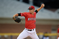 Batavia Muckdogs pitcher Andrew Miller (8) during a NY-Penn League game against the Auburn Doubledays on June 15, 2019 at Dwyer Stadium in Batavia, New York.  Batavia defeated Auburn 7-5.  (Mike Janes/Four Seam Images)
