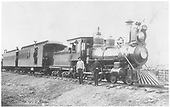 3/4 engineer's-side view of D&amp;RG American #94 &quot;Gunnison&quot; posing with a passenger train and her crews.<br /> D&amp;RG    prior to 1903