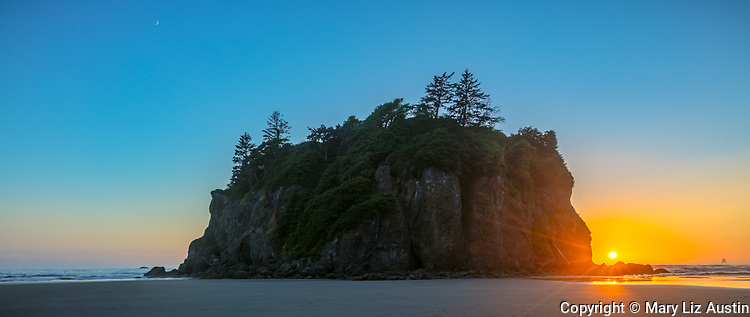 Olympic National Park, Washington: Sunset on the south side of Abbey Island with crescent moon on north side; low tide at Ruby Beach