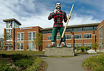 Paul Bunyan statue in front of the Cross Insurance Center, Bangor, Penobscot County, Maine, USA.