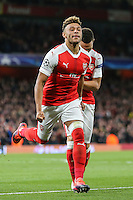 Alex Oxlade-Chamberlain of Arsenal (left) celebrates after he scores his team's 3rd goal of the game to make it 3-0 during the UEFA Champions League match between Arsenal and PFC Ludogorets Razgrad at the Emirates Stadium, London, England on 19 October 2016. Photo by David Horn / PRiME Media Images.