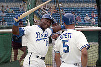 Kansas City Royals Bo Jackson (16) and George Brett (5) during spring training circa 1990 at Baseball City Stadium in Davenport, Florida.  (MJA/Four Seam Images)