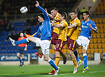 St Johnstone v Motherwell....31.10.14   SPFL<br /> Gary McDonald flicks the ball on from a corner<br /> Picture by Graeme Hart.<br /> Copyright Perthshire Picture Agency<br /> Tel: 01738 623350  Mobile: 07990 594431