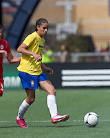 Brazilian defender Rafaelle Sousa (14) passes the ball. In an international friendly, Canada defeated Brasil, 2-1, at Gillette Stadium on March 24, 2012.
