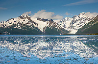Cataract (left) and Surprise glacier (right), Chugach mountains, Chugach National forest, Prince William Sound, southcentral, Alaska.