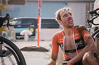 "Jan-Willem Van Schip (NED/Roompot-Nederlandse Loterij) has a little breakdown after finishing, realizing his late race crash might have cost him the race victory<br /> <br /> Antwerp Port Epic 2018 (formerly ""Schaal Sels"")<br /> One Day Race:  Antwerp > Antwerp (207 km; of which 32km are cobbles & 30km is gravel/off-road!)"