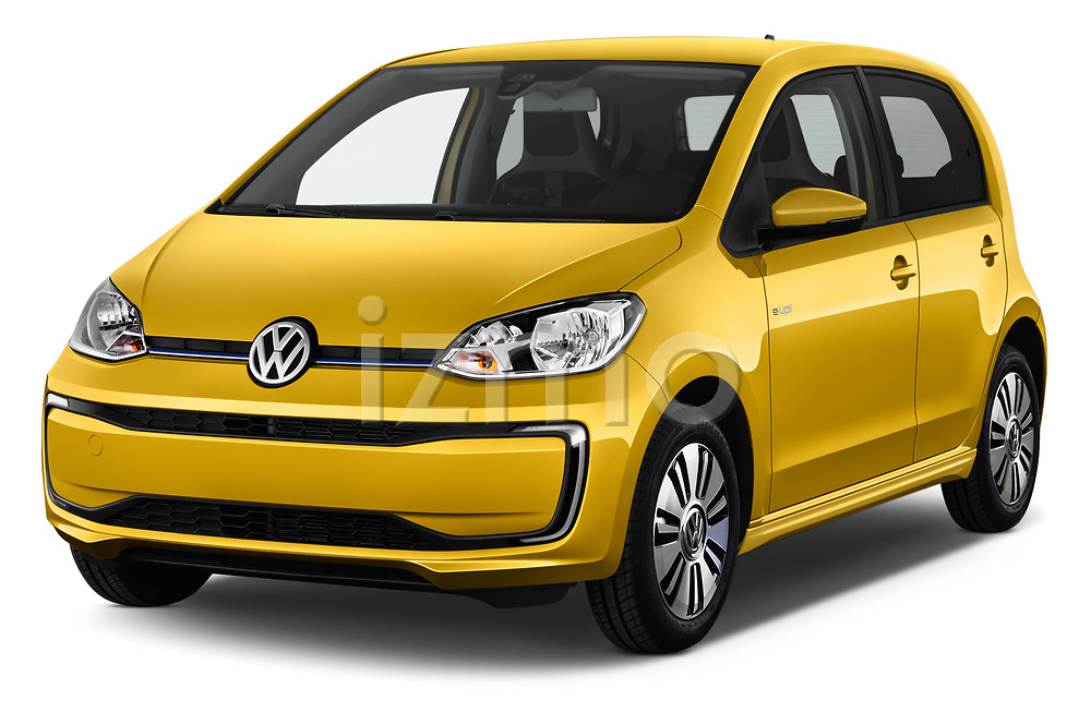 2017 Volkswagen E-Up - 5 Door Hatchback Angular Front stock photos of front three quarter view