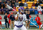 Troy Reh (#10) prepares to pass the ball as UAlbany Men's Lacrosse defeats Richmond 18-9 on May 12 at Casey Stadium in the NCAA tournament first round.