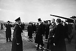 Treaty of non-aggression between germany and the union of soviet socialist republics, german minister for foreign affairs, joachim von ribbentrop (right), arrives at the central airport in moscow on september 27, 1939, next to him is ambassador herr von der schulenburg (in top-hat).
