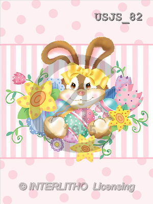 Janet, EASTER, paintings, Pink Bunny 1(USJS82,#E#) Ostern, Pacua, illustrations, pinturas