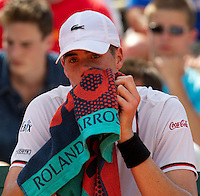 John Isner..Tennis - Grand Slam - French Open- Roland Garros - Paris - Mon May 28th 2012...© AMN Images, 30, Cleveland Street, London, W1T 4JD.Tel - +44 20 7907 6387.mfrey@advantagemedianet.com.www.amnimages.photoshelter.com.www.advantagemedianet.com.www.tennishead.net