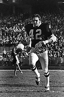 Oakland Raider linebacker Bill Laskey introduced at the Oakland Alameda County Coliseum. (1970 photo/Ron Riesterer)