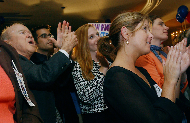 "10/29/03.""C COMPANY"" RECEPTION FOR WESLEY CLARK--Supporters in front of the podium applaud the candidate during a ""low-dollar"" fundraising event, at the Omni Shoreham Hotel in Washington, D.C., for Democratic presidential candidate Wesley K. Clark, a retired general from Arkansas. The event, organized by young professional supporters, was attended by several hundred donors. .CONGRESSIONAL QUARTERLY PHOTO BY SCOTT J. FERRELL"