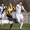 East Fife's Stephen Hughes and Ayr Utd's Kevin Kyle challenge.
