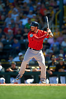Boston Red Sox designated hitter Blake Swihart (23) at bat during a Spring Training game against the Pittsburgh Pirates on March 9, 2016 at McKechnie Field in Bradenton, Florida.  Boston defeated Pittsburgh 6-2.  (Mike Janes/Four Seam Images)