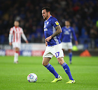 26th November 2019; Cardiff City Stadium, Cardiff, Glamorgan, Wales; English Championship Football, Cardiff City versus Stoke City; Lee Tomlin of Cardiff City - Strictly Editorial Use Only. No use with unauthorized audio, video, data, fixture lists, club/league logos or 'live' services. Online in-match use limited to 120 images, no video emulation. No use in betting, games or single club/league/player publications