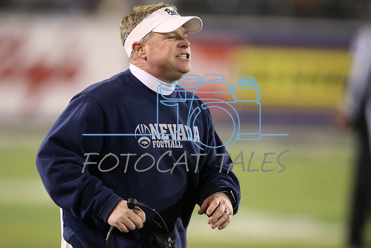 Nevada's Head Coach Brian Polian yells from the sidelines during the first half of an NCAA college football game in Reno, Nev., on Saturday, Nov. 16, 2013.<br /> (AP Photo/ Cathleen Allison).