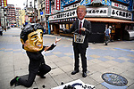 JUNE 28, 2019 - People wearing masks of Japanese Prime Minister Shinzo Abe and US President Donald Trump protest coal power during the G20 Summit in Osaka, Japan. (Photo by Ben Weller/AFLO) (JAPAN) [UHU]