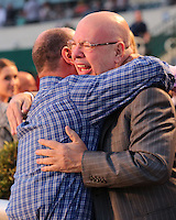 HALLANDALE BEACH, FL - MARCH 04:  Gunnevera's owner, Salomon Del Valle, celebrates in the winners circle after winning the $400,000 Xpressbet Fountain Of Youth Stakes (Grade II) at Gulfstream Park on March 04, 2017 in Hallandale Beach, Florida. (Photo by Liz Lamont/Eclipse Sportswire/Getty Images)
