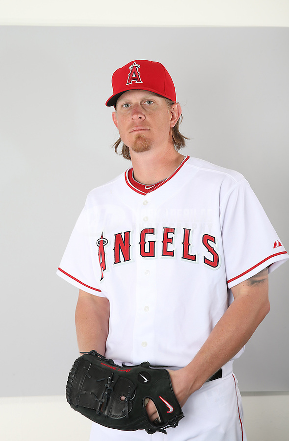 Feb. 21, 2013; Tempe, AZ, USA: Los Angeles Angels pitcher Jered Weaver poses for a portrait during photo day at Tempe Diablo Stadium. Mandatory Credit: Mark J. Rebilas-