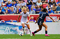 HARRISON, NJ - SEPTEMBER 29: Claire Emslie #7 of the Orlando Pride during a game between Orlando Pride and Sky Blue FC at Red Bull Arena on September 29, 2019 in Harrison, New Jersey.