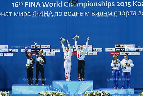 (L-R) Bill May & Kristina Lum-Underwood (USA), Aleksandr Maltsev & Darina Valitova (RUS), Giorgi Minisini & Mariangela Perrupato (ITA), JULY 30, 2015 - Synchronised Swimming : 16th FINA World Championships Kazan 2015 Mixed Duets Free Routine Medal Ceremony at Kazan Arena in Kazan, Russia. (Photo by Yohei Osada/AFLO SPORT)