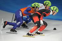 SCHAATSEN: DORDRECHT: Sportboulevard, Korean Air ISU World Cup Finale, 11-02-2012, Sjinkie Knegt NED (62), Edoardo Reggiani ITA (42), Quiwen Gong CHN (12), ©foto: Martin de Jong