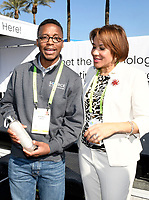 LAS VEGAS, NV - JANUARY 10:  Wasalu Jaco professionally known as Lupe Fiasco and Mayor of Flint Michigan, Karen Weaver at the Zero Mass Water Booth during CES 2019 in Las Vegas, Nevada on January 10, 209.   <br /> CAP/MPI/DAM<br /> ©DAM/MPI/Capital Pictures