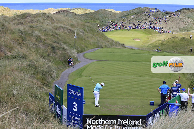 Dean Burmester (RSA) tees off the par3 3rd tee during Saturday's Round 3 of the 2017 Dubai Duty Free Irish Open held at Portstewart Golf Club, Portstewart, Co Derry, Northern Ireland. 08/07/2017<br /> Picture: Golffile | Eoin Clarke<br /> <br /> <br /> All photo usage must carry mandatory copyright credit (&copy; Golffile | Eoin Clarke)