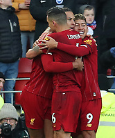 30th November 2019; Anfield, Liverpool, Merseyside, England; English Premier League Football, Liverpool versus Brighton and Hove Albion; Virgil van Dijk of Liverpool celebrates after scoring his side's second goal after 24 minutes with teammate Roberto Firmino  - Strictly Editorial Use Only. No use with unauthorized audio, video, data, fixture lists, club/league logos or 'live' services. Online in-match use limited to 120 images, no video emulation. No use in betting, games or single club/league/player publications