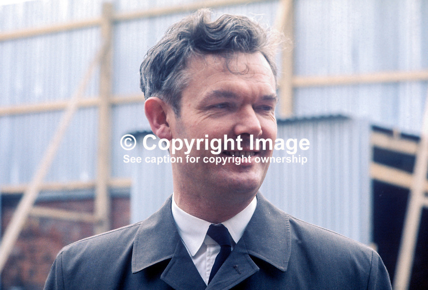 Chief Inspector William McMaster, RUC, Royal Ulster Constabulary, N Ireland, 197203100114a<br /> <br /> Copyright Image from Victor Patterson,<br /> 54 Dorchester Park, <br /> Belfast, UK, BT9 6RJ<br /> <br /> t1: +44 28 9066 1296 (from Rep of Ireland 048 90661296)<br /> t2: +44 28 9002 2446 (from Rep of Ireland 048 9002 2446)<br /> <br /> m: +44 7802 353836<br /> <br /> e: victorpatterson@me.com<br /> www.victorpatterson.com<br /> <br /> Please see my Terms and Conditions of Use at www.victorpatterson.com. It is IMPORTANT that you familiarise yourself with them.<br /> <br /> Images used on the Internet must be visibly watermarked i.e. &copy; Victor Patterson<br /> within the body of the image and copyright metadata must not be deleted. Images <br /> used on the Internet have a size restriction of 4kbs and will be chargeable at current<br />  NUJ rates unless agreed otherwise.<br /> <br /> This image is only available for the use of the download recipient i.e. television station, newspaper, magazine, book publisher, etc, and must not be passed on to any third <br /> party. It is also downloaded on condition that each and every usage is notified within 7 days to victorpatterson@me.com<br /> <br /> The right of Victor Patterson to be identified as the author is asserted in accordance with The Copyright Designs And Patents Act (1988). All moral rights are asserted