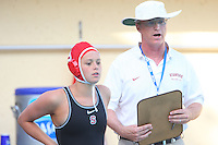 10 May 2008: Stanford Cardinal Kira Hillman (L) and head coach John Tanner (R) during Stanford's 10-6 loss against the USC Trojans in the National Collegiate Women's Water Polo Tournament semifinal game at Avery Aquatic Center in Stanford, CA.