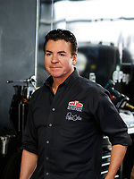 Apr 22, 2017; Baytown, TX, USA; Papa John's pizza founder and NHRA sponsor John Schnatter during qualifying for the Springnationals at Royal Purple Raceway. Mandatory Credit: Mark J. Rebilas-USA TODAY Sports