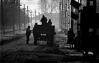 Rural Village during Revolution a week after Dictator Ceaucescus Dead, Romania 1990