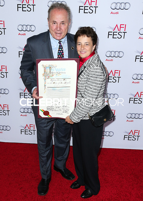 HOLLYWOOD, LOS ANGELES, CA, USA - NOVEMBER 12: Tom LaBonge, Nancy Harris arrive at the AFI FEST 2014 - Special Tribute To Sophia Loren held at the Dolby Theatre on November 12, 2014 in Hollywood, Los Angeles, California, United States. (Photo by Xavier Collin/Celebrity Monitor)