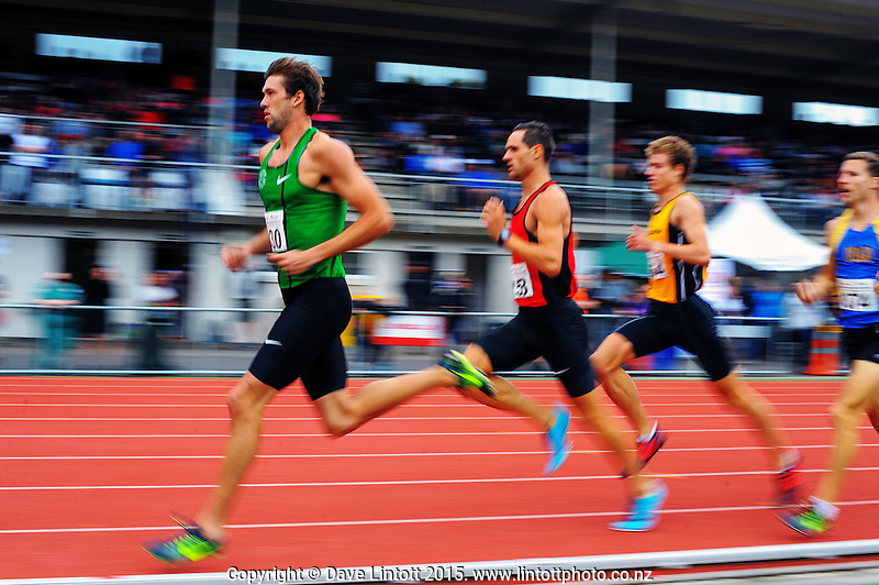 Andrew Wheating leads Brad Mathas in the men's 800m final on day two of the 2015 National Track and Field Championships at Newtown Park, Wellington, New Zealand on Saturday, 7 March 2015. Photo: Dave Lintott / lintottphoto.co.nz