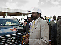 The President of South Sudan, Salva Kiir, arrives to open the registration exercise for the independence referendum scheduled for January 2011.