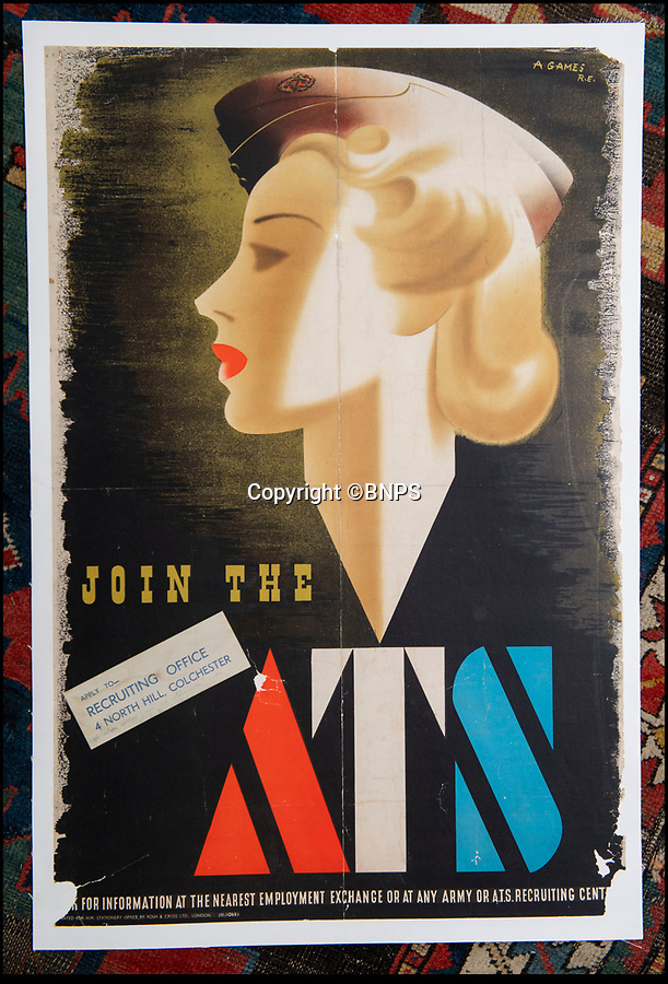 BNPS.co.uk (01202 558833)<br /> Pic: Onslows/BNPS<br /> <br /> Rare survivor - WW2 'Blonde Bombshell' poster that was banned for being to glamorous emerges.<br /> <br /> A rare copy of a controversial wartime poster for the women's ATS that had to be pulped following complaints by a feminist MP has come to light.<br /> <br /> The poster aimed at getting women to join the Auxiliary Territorial Army was produced in 1941 by renowned graphic designer Abraham Games.<br /> <br /> He deliberately glamourised the service by turning brunette model Doreen Murphy into a blonde, giving her red lipstick and putting her cap at a 'sexy' angle.<br /> <br /> Games' aim was to appeal to younger women but his 'blonde bombshell' poster drew complaints.<br /> <br /> Some 10,000 copies were destroyed but one that has survived has emerged for sale in Dorset for £5,000.