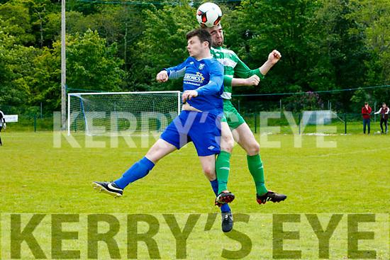 In Action Athletic Jamie Doolan and  Celtic's Brendan Falvey in the Killarney Athletic v Killarney Celtic at Woodlawn Killarney on Sunday