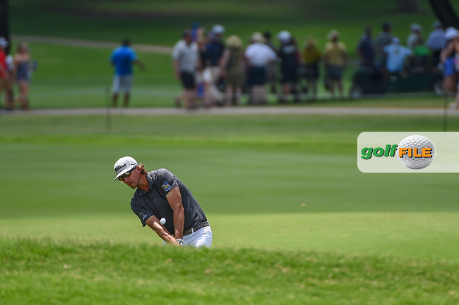 Roger Sloan (CAN) hits his approach shot on 2 during round 3 of the 2019 Charles Schwab Challenge, Colonial Country Club, Ft. Worth, Texas,  USA. 5/25/2019.<br /> Picture: Golffile   Ken Murray<br /> <br /> All photo usage must carry mandatory copyright credit (© Golffile   Ken Murray)