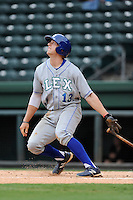 Third baseman Hunter Dozier (13) of the Lexington Legends in a game against the Greenville Drive on Sunday, August 18, 2013, at Fluor Field at the West End in Greenville, South Carolina. Dozier was the No. 1 pick (eighth overall) by the Kansas City Royals in the first round of the 2013 First-Year Player Draft. He played collegiate ball for Stephen F. Austin University. Greenville won Game 2 of a doubleheader, 1-0. (Tom Priddy/Four Seam Images)