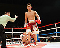 Takahiro Aou (JPN), Humberto Mauro Gutierrez (MEX), APRIL 8, 2011 - Boxing : Referee Jon Schorle gives a count to Humberto Mauro Gutierrez of Mexico after being knocked down by Takahiro Aou of Japan during the WBC super feather weight title bout at World Memorial Hall in Kobe, Hyogo, Japan. (Photo by Naoki Fukuda/AFLO)