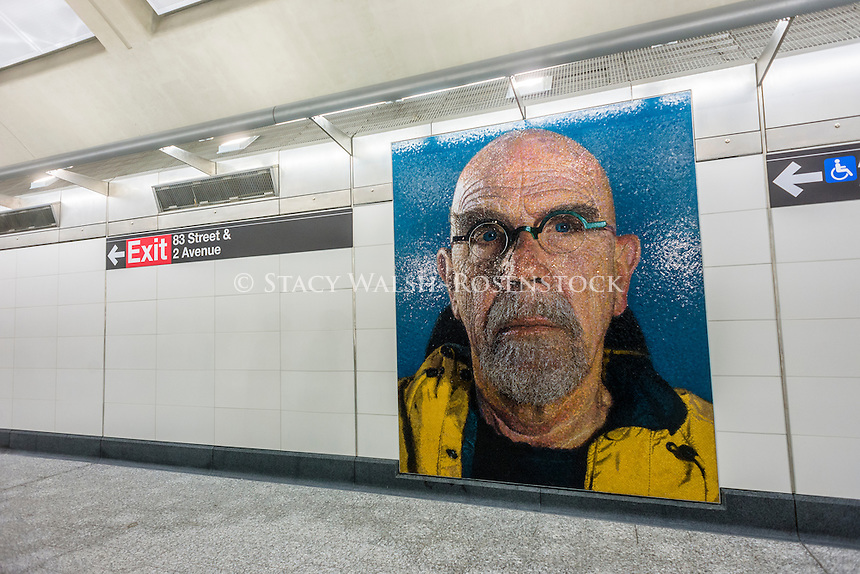 New York, USA 1 January 2017 - After nearly a century the Second Avenue Subway finally opened to the public on New Years Day. Three new stations, at 72nd, 86th and 96th streets, plus an extension at East 63rd were added to the BMT and cost 4.4 billion dollars. The new state of the art subway line runs along BMT lines to Brighton Beach, Brooklyn. Mosaic mural: self portrait by Chuck Close ©Stacy Walsh Rosenstock